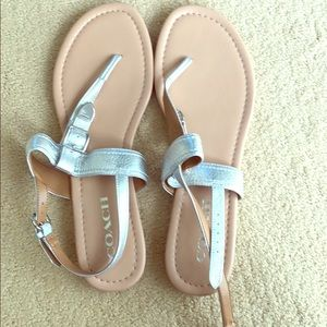 Never worn coach silver sandals
